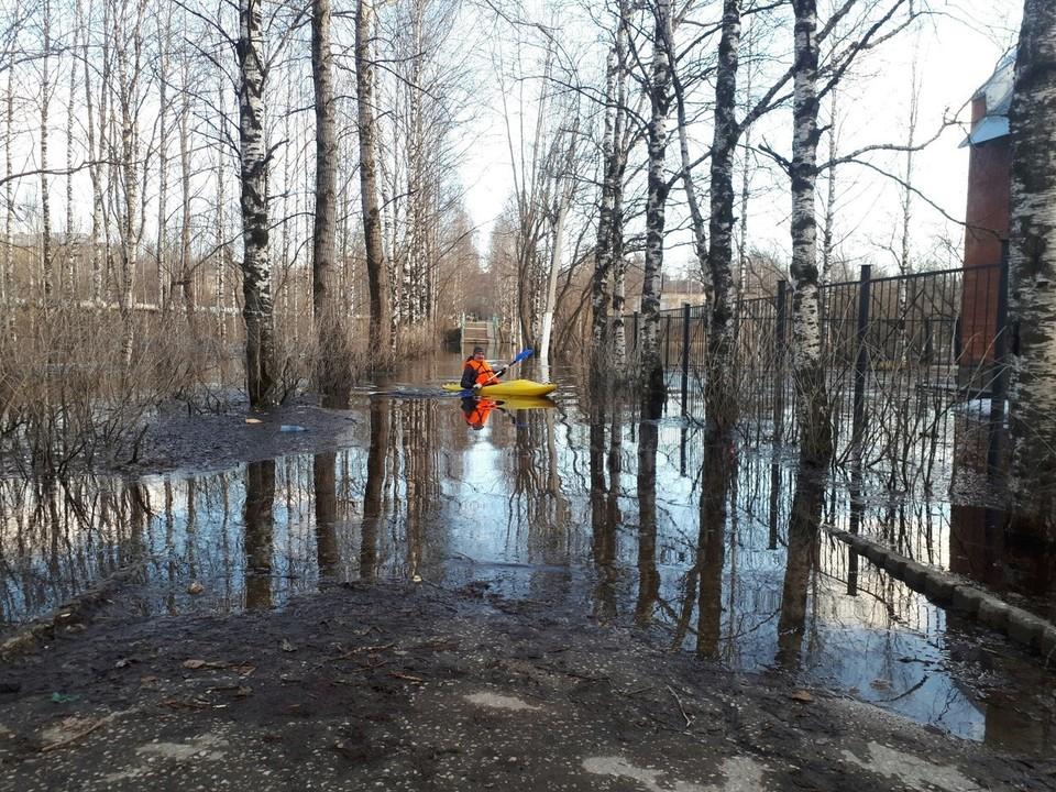 Мужчины без труда бороздили поверхность временного пруда