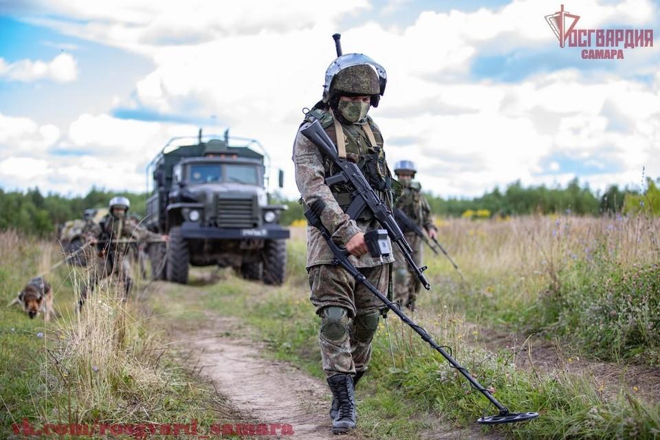 В Самарской области в поле обнаружили три снаряда миномёта. Фото: Росгвардия. Самарская область / vk.com/rosgvard_samara.